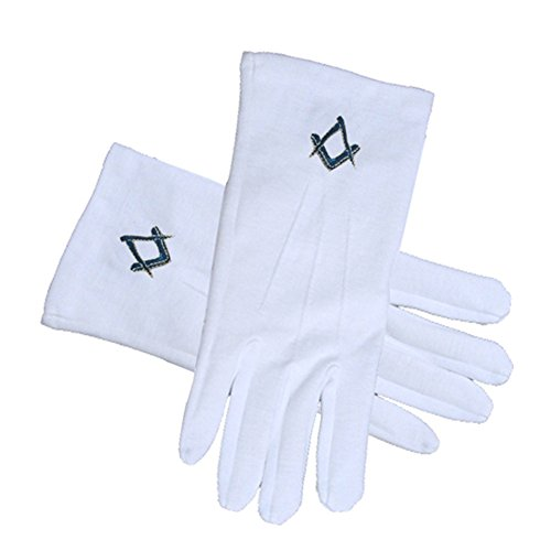 Masonic Standard Elegant Plain Blue Style Square and Compass Face Cotton Gloves - White (One Size Fits Most). Freemason Regalia Formal Wear Clothing. (One Size Fits Most)