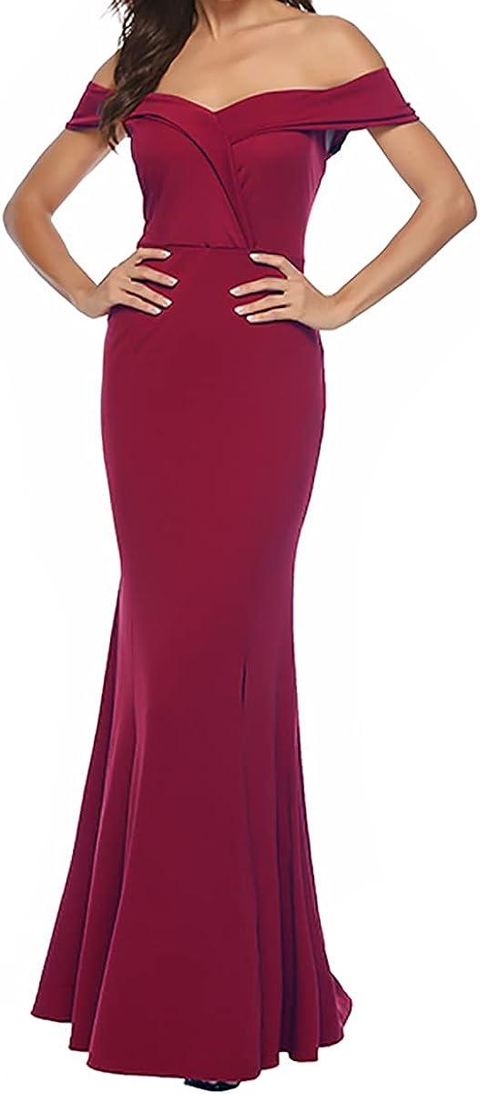 Women One Shoulder Sleeveless V Neck Split Evening Cocktail Long Dress