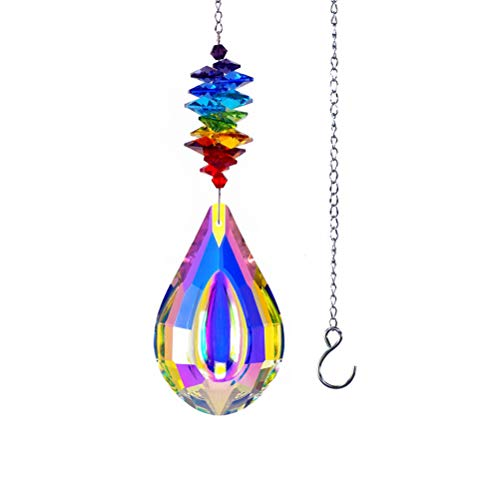 Teardrop-shaped Crystal Pendant with Rainbow Chakra Beads, Glass Garden Sun Catchers Hanging Ornament Colorful Hanging Decoration for Home, Wedding
