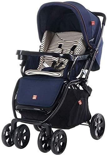 Poppenwagen kinderwagen hoog landschap Can Sit Reclining vierwiel-schokdemper opvouwbare lichte wagen geschikt 0-36 maanden baby babyartikelen Dark Blue