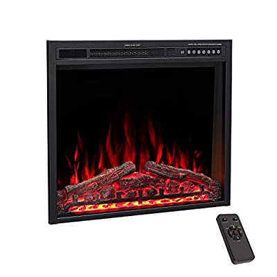 """R.W.FLAME 39"""" Electric Fireplace Insert, Traditional Antiqued Build in Recessed Electric Stove Heater, Glass Door and Mesh Screen,Touch Screen,Remote Control with Timer, Colorful Flame Option"""