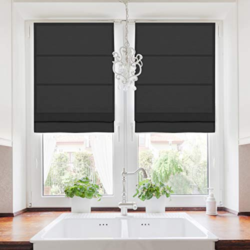 TWOPAGES Roman Blinds Faux Linen Roman Shade for Windows, Custom Made Roman Window Shade Room Darkening Blackout Roman Shade Washable Fabric, Install Hardware Included, Black, 1 Piece