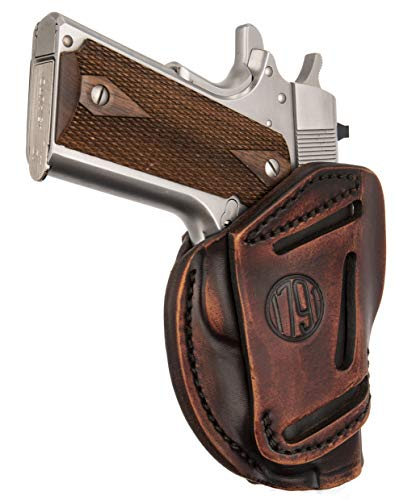 1791 GunLeather 3-Way 1911 Holster - Ambidextrous OWB CCW Holster - Right or Left Handed Leather Gun Holster - Fits All 1911 Models Sig, Colt, Kimber, Ruger, Browning, Taurus and Remmington (Vintage)