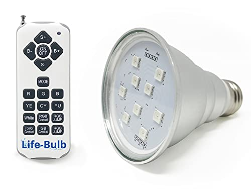 Life-Bulb 120V LED Color Spa Light Bulb with Remote for in-ground spa | High Lumens | Lifetime Replacement Warranty | Long Lasting Aluminum | Replaces up to 300W Incandescent E26 Screw in Type Bulbs