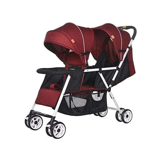 JXCC Double Strollers Baby Pram Tandem Buggy Newborn Pushchair with Adjustable Backrest- (Grey/Red) -Safe And Stylish Red JXCC 1. {Multi-angle adjustable}: The rear seat can sit down and adjust the angle from 0 to 175 degrees, suitable for all occasions. 3.{3D stereo shock} - X-frame setting, evenly dispersing the upper weight 1.{All seasons} - The awning can be adjusted at multiple angles to easily cope with the sun 1
