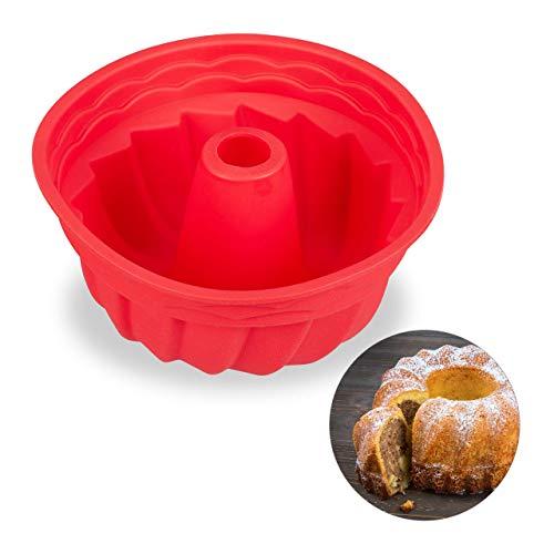 Relaxdays Molde de savarin, Molde de bizcocho alto, Apto para lavavajillas, Profesional, Ø 23 cm, Rojo