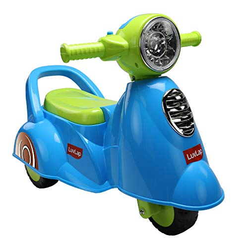 Luvlap - 18518 Wheelie Scooter Ride On for Kids, Colourful Light Music Button 18-36 Months Blue