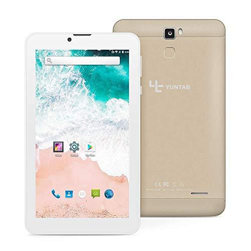 YUNTAB E706 Tablette 7'', RAM 1 Go + ROM 16 Go, avec Double logement pour Carte SIM, WI-FI, Bluetooth, Prise en Charge 2G, Appel 3G, Système Android 7.0 (Or)