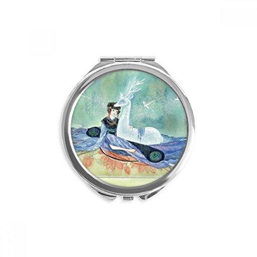 DIYthinker Weiss Hirsch Chinese Antique Illustrator Spiegel Runde bewegliche Handtasche Make-up 2.6 Zoll x 2.4 Zoll x 0.3 Zoll Mehrfarbig