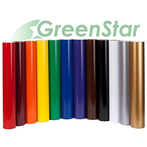 GreenStar 12 Rolls 24'x5yd Each Self Adhesive Sign Vinyl Starter Pack for Graphics, Lettering