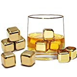 10 x doré pierres de whisky en or en acier inoxydable ice cube chilling stone rocks, glaçons en