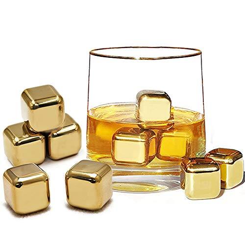 FLOW Barware Whisky Steine aus Edelstahl, Eiswürfelform, wiederverwendbar, für Whisky, Wein und Gin und Tonic Getränke, 10 Stück 27mm x 27mm gold