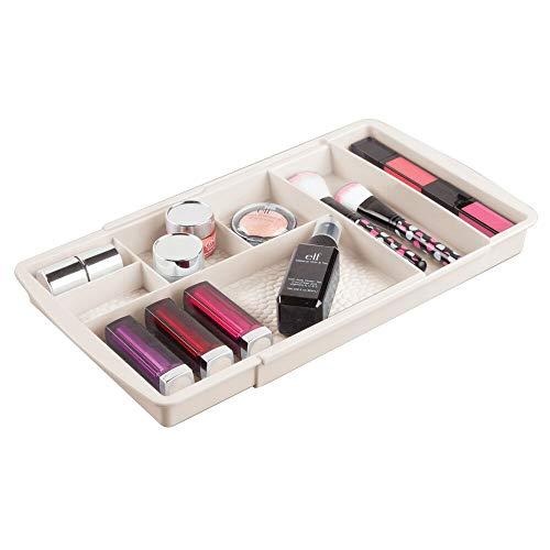 mDesign rangement maquillage – boîte à maquillage extensible avec compartiments pour le tiroir – rangement make up en plastique parfait pour vernis à ongles, maquillage, etc. – couleur crème