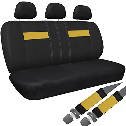 OxGord Cloth Mesh Bench Seat Covers Universal Fit for Car, Truck, SUV, Van - Yellow