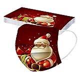 Covermason 10 Stück Weihnachtsmotiv, Mundschutz für Herren Jugen, Atmungsaktive Face Cover Einweg Weihnachten Geschenke Mundbedeckung Multifunktionstuch Halstuch