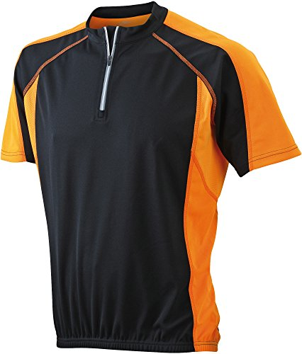 James&Nicholson - Maillot Cycliste Homme - JN420 (Noir/Orange, L)