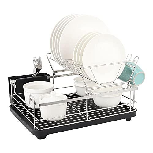 Abtropfgestell Geschirr , Edelstahl Abtropfgitter , 2 Etagen Geschirr Abtropfkor mit Besteckkorb & Abtropfschale abnehmbarem Besteck & Getränkehalter für spüle küche