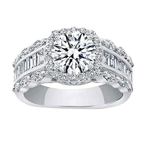 Hemlock Women Diamonds Ring Square ZirconRing Wedding Jewelry Ring Generous CreativeRing Luxury Gifts (6, silver)
