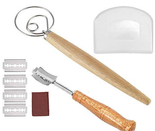 Bread Baking Tool Set for Homemade Includes Danish Dough Whisk Plastic Dough Scraper Scoring Lame Bread Slashing Tool with 5 Blades and Protective Cover for Bread Cake Pizza