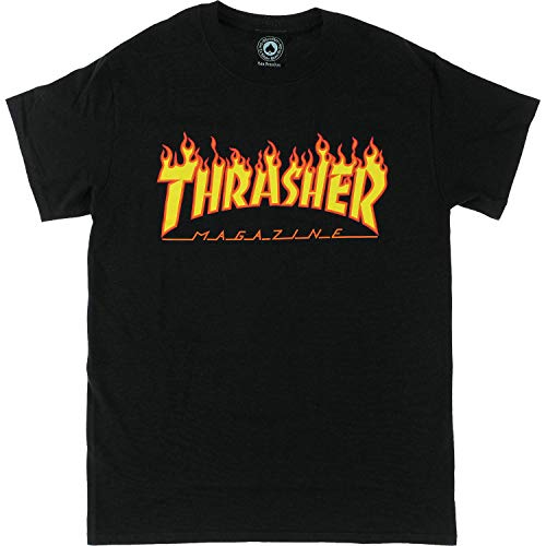 Thrasher Mens Flame Outlined Skateboarding Clothing Tee Short Sleeve Black M
