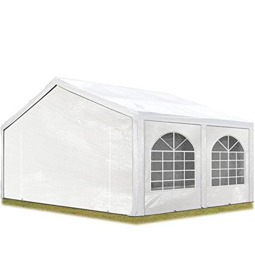 TOOLPORT Tente de réception 5x5 m, Toile de Haute qualité env. 240g/m² PE Blanc Construction en Acier galvanisé avec raccordement par vissage