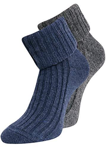kb-Socken - 2 Paar Wollsocken Damen verschiedene Farben warme farbige Wintersocken Socken Strümpfe aus Wolle bunt gestrickt Bettsocken 35-38 39-42 (35-38, Dunkelblau/Dunkelgrau)