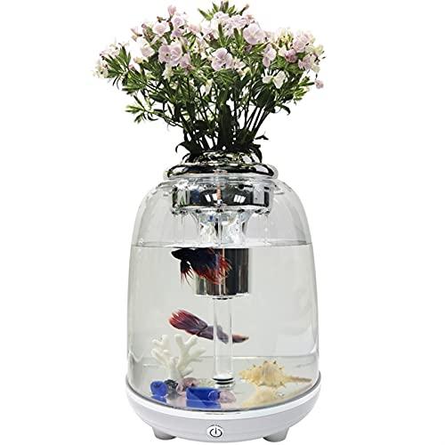 Sucastle Mini tanque de peces con LED multicolor, jardín de agua, tanque de peces autolimpiables que crece alimentos, escritorio USB Mini AquaPonic Ecósistema, decoración de escritorio que crece Plant