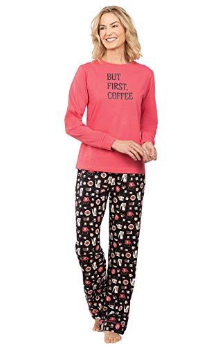 PyjamaGram Damen Pyjama Set Baumwolle – Damen PJ Sets - Schwarz - Large (42-44)