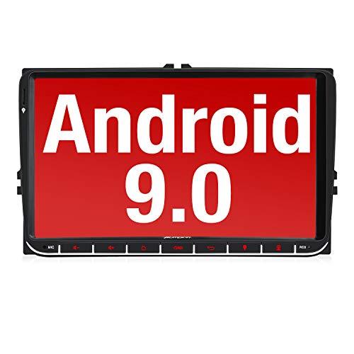 【Nuevo】 Pumpkin 9' Android 9.0 Radio para VW, 2 Din Autoradio GPS navegador Compatible con Bluetooth, Control Volante, USB, WiFi, 4G, Micro SD, Mirror-Link, DAB +