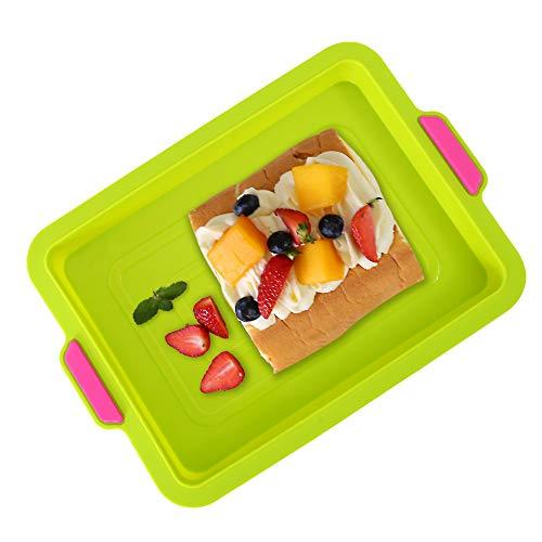 KeepingcooX® Antihaft-Brownie-Pfanne, 34 x 24 x 3 cm | Großes Backblech/rechteckiges Kuchenblech zum Backen mit Griffen, zweifarbig, wiederverwendbares Silikon, Grün/Blau