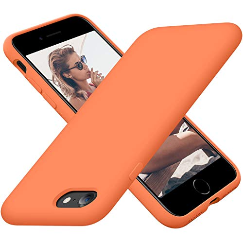Cordking iPhone SE 2020 Case, iPhone 7 8 Case, Silicone Ultra Slim Shockproof Phone Case with [Soft Microfiber Lining], 4.7 inch, Kumquat