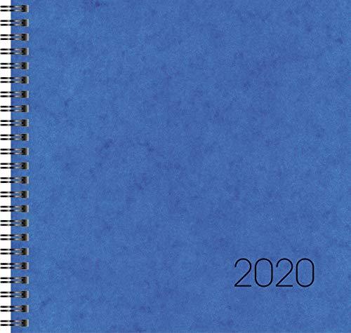 BRUNNEN 107660130 Buchkalender Quadratkalender groß Modell 766 (2 Seiten = 1 Woche, 210 x 205 mm, Karton-Einband, Kalendarium 2020, Wire-O-Bindung) blau