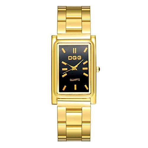 DECTN Reloj de Pulsera Relojes rectangulares de Acero Inoxidable de Moda Reloj de Pulsera de Cuarzo para Hombre Reloj Negro