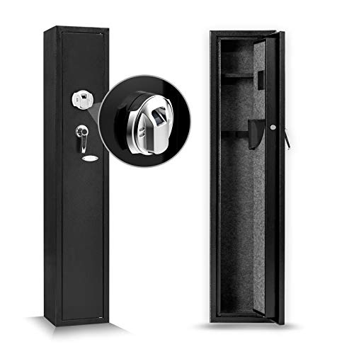 Biometric Fingerprint Rifle Safe 4-Rifle Large Capacity Upgrade Long Gun Safe Quick Access Storage Lockable Cabinet for Home Office with Handgun Holders and Pistol/Handgun Box