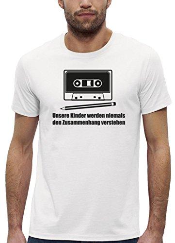 Retro Premium Herren T-Shirt aus Bio Baumwolle mit Bleistift - Kassette Motiv Marke Stanley Stella, Größe: 3XL,White