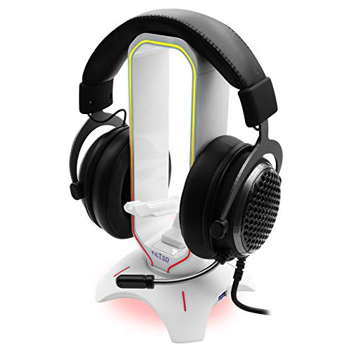 Tilted Nation RGB Gaming Headset Stand - 3 in 1 Headphone Stand with Mouse Bungee and 2 Port USB 3.0 Hub - The Ultimate Gaming Accessory - Dynamic RGB Headphone Holder with USB Charger - White