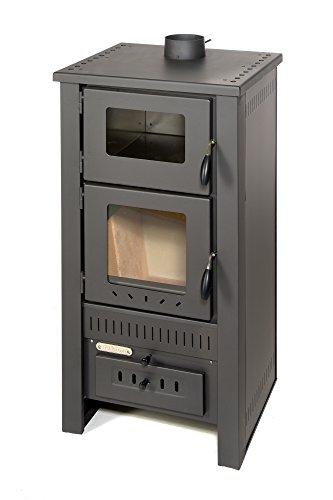 acerto 40513 Santo Holzofen - 8 kW - Kaminofen aus hochwertigem Stahl für Holz & Kohle - Indoor-Ofen zum Kochen & Backen (Grau)