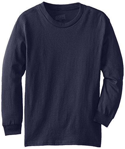 MJ Soffe Big Boys' Youth Pro Weight Long-Sleeve T-Shirt, Navy, X-Large
