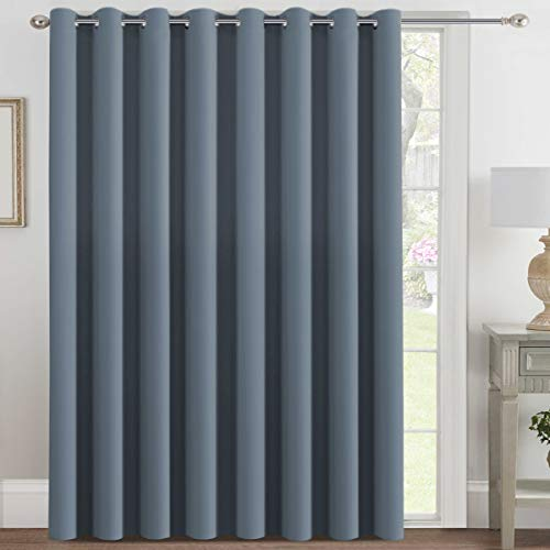 H.VERSAILTEX Blackout Patio Curtains 100x84 Inches for Sliding Door Extral Wide Blackout Curtain Panels Thermal Insulated Room Divider - Grommet Top, 7' Tall by 8.5' Wide - Stone Blue