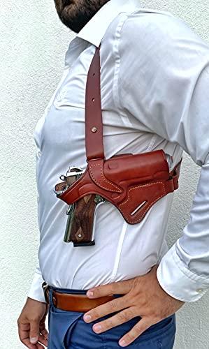 Ottoza Leather Gun Holster 1911 Shoulder Holster Right Hand - Dual Usage Shoulder + Belt / Leather Shoulder Holster 1911 fits Most Models 1911 COLT-Kimber-Ruger and More Full Grain Leather No:303