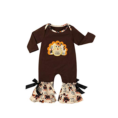 YOUNGER TREE Newborn Infant Baby Boy Girls Thanksgiving Bodysuit Romper Jumpsuit Cute Stripe Turkey Print Onesies (Turkey, 18-24 Months)