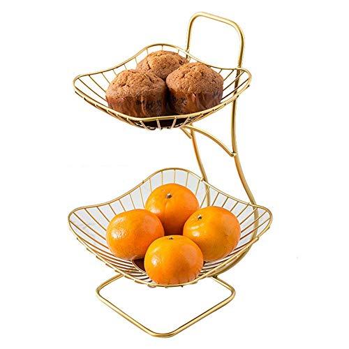 Farmer-W Modern Living Home fruitmand, draad, grote capaciteit, fruitschaal met dubbele fruitschaal, prachtige fruitmand, meerlaags