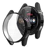 Wiki VALLEY Hülle für Huawei Watch 3 Pro, 2er Pack Weiche TPU Bumper Schutzhülle,9H Bildschirmschutz,Superdünne Stoßfeste Hülle für Watch3 3 Pro-Schwarz