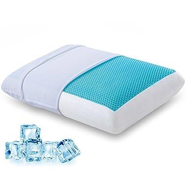 Comfort & Relax Reversible Memory Foam Gel Pillow for Sleeping Cool, Standard Size, 1-Pack