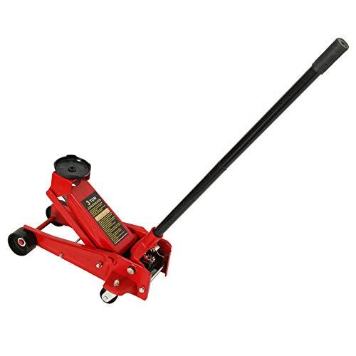 TUOKE Gato hidráulico de 3 toneladas de elevación de suelo resistente para coche, coche, coche, color rojo