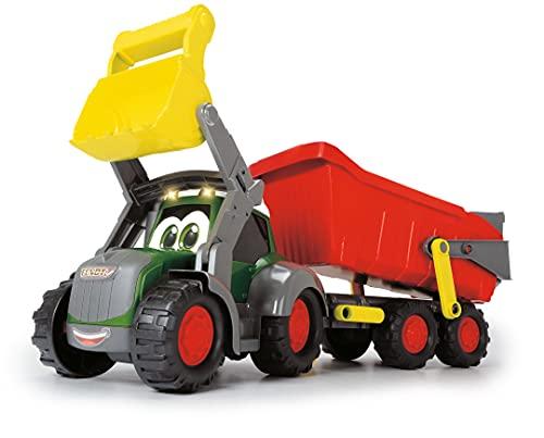 Dickie Toys 203819002 Happy Farm Trailer, Fendt Spielzeugtraktor mit Anhänger, Licht und Sound Effekten, für Kleinkinder und Kinder ab 12 Monaten, 65 cm