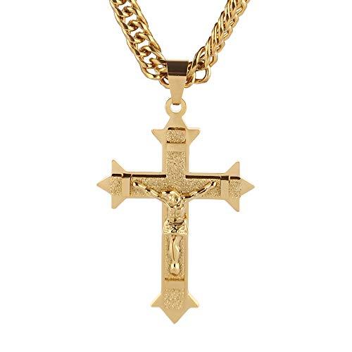 VAWAA Tono De Oro Cruz Cristo Jes├║s Colgante Collar Acero Inoxidable Eslabones Rolo Cadena Heavy Hombres Joyer├Гa Regalo De Regalo