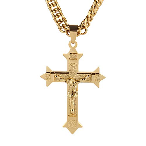 VAWAA Tono De Oro Cruz Cristo Jesús Colgante Collar Acero Inoxidable Eslabones Rolo Cadena Heavy Hombres Joyería Regalo De Regalo