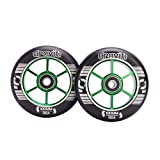 GRAVITI One Pair 100mm Pro Stunt Scooter Wheels with ABEC-9 Bearings CNC Metal Core (2pcs) (Black pu Green core)