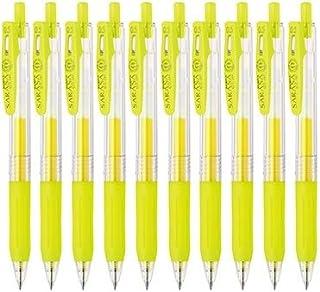 Zebra Sarasa Clip 0.5 Retractable Gel Ink Pen, Rubber Grip, 0.5mm, Neon Yellow Ink, Value Set of 10